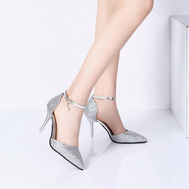Lucyever Fashion Buckle Crystals Bling Pumps Women Elegant Thin High Heels Point toe Party Wedding Shoes Woman Glod Sliver Black 6