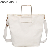 d30d1ab48c ANAWISHARE Casual Women Handbags Canvas Large Tote Summer Beach Shoulder Bag  White Crossbody Bags For Women