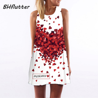 2016 New Style Summer Dress Sleeveless Floral Print Casual Women Dress Above Knee Mini Vestidos Plus