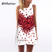 Women Sleeveless Hearts Print Casual Short Beach Dresses