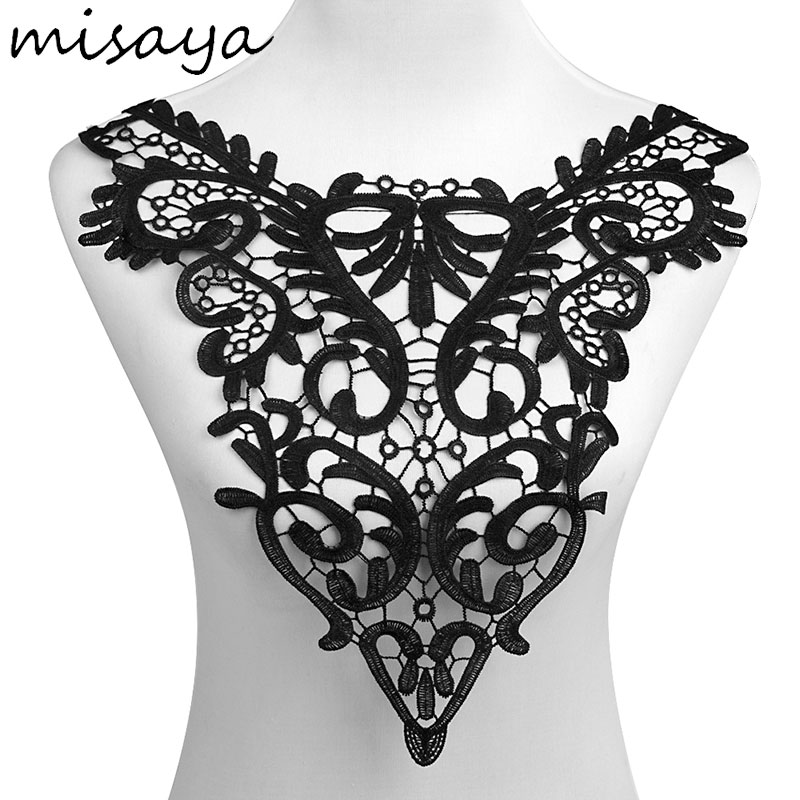 Image 4 - Misaya 1pc Lace Collar of 9 Style Beautiful Flower and Heart Venise Lace Applique Trim Lace Fabric Sewing Supplies Lace Neckline-in Lace from Home & Garden