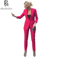 Office Lady Casual Business Suit Women Coat Pants Clothes Suit Female Fashion Single Button Business Suit