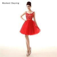 Элегантное красное платье трапециевидной формы кружевные платья для возвращения домой 2017 mezuniyet elbiseleri с Минни Маус для девочек короткие Вых