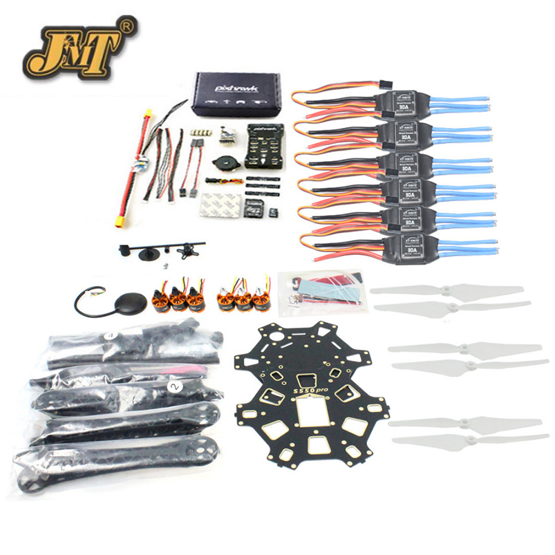 JMT DIY FPV Drone Hexacopter 6-axle Aircraft Kit HMF S550 Frame PXI PX4 Flight Control 920KV Motor GPS 9343 Propers 30A ESC f550 atf hexacopter frame kit