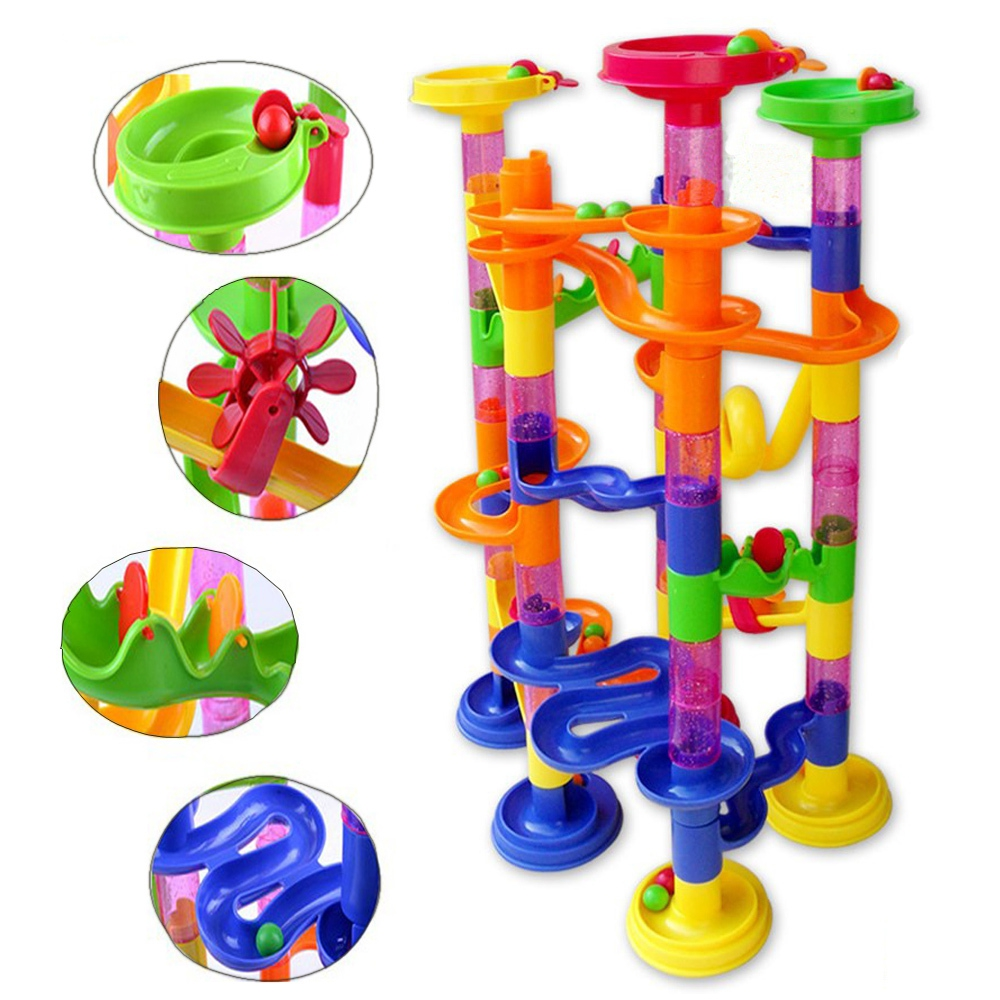 105pcs DIY Construction Marble Race Game Toy Kids Race Run Maze Balls Track Plastic House Building Blocks Kids Educational Toys kids play outdoor sports games go kart race air track for balls inflatable race track