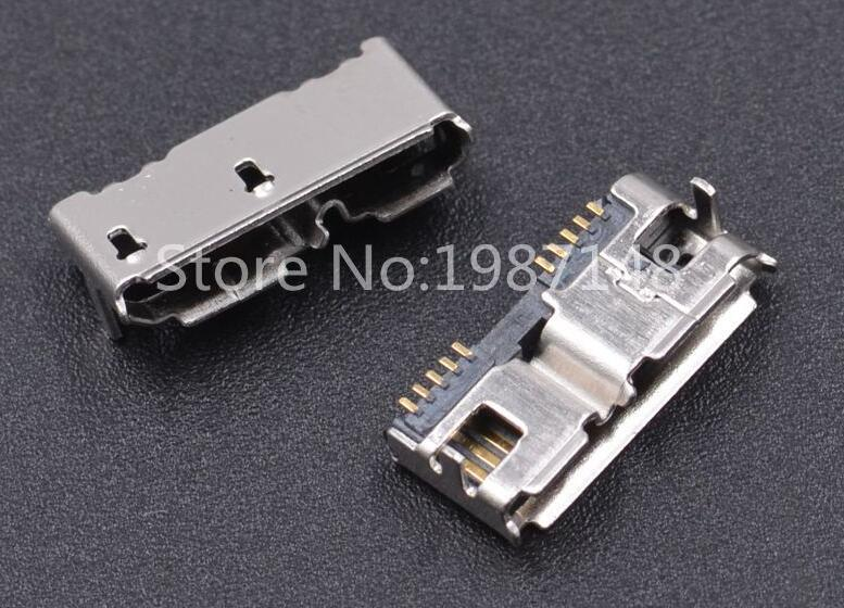 10pcs Micro USB 3.0 B Type DIP Female Socket DIP2 10pin USB Connector for Mobile Hard Disk Drives Data Interface