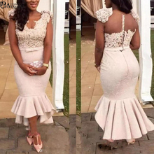 Plus Size Evening Dresses Mermaid Vestido De Festa Lace Evening Dress Beaded 2020 robe de soiree African Formal Gown Party Dress