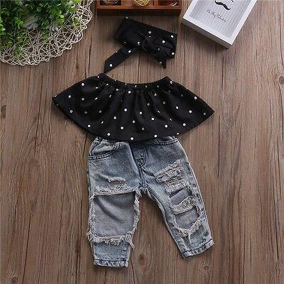 Infant Baby Girls Clothes Sets Dot Sleeveless Tops Vest Hole Denim Pants Headband 3pcs Clothing Set Baby Girl 3