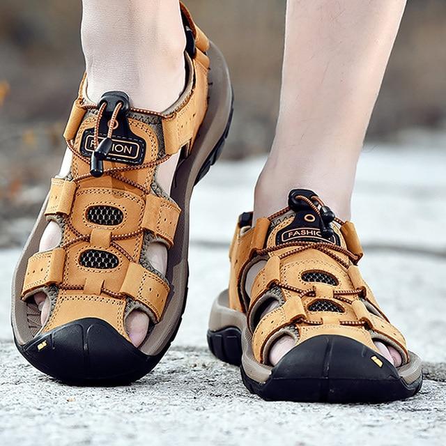 Zapatos Los Marrones 48 Sandalias 45 Loop Hombres Hombre Hook Para Hollow Zuecos Tamaño Cómodos Cuero Más Playa De Verano XiTZPOuk