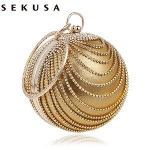 Image 1 - SEKUSA Circular Tassel Rhinestones Women Evening Bags With Handle Diamonds Metal Handbags For Wedding/Party/Dinner Evening Bags