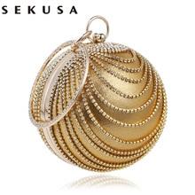 Sekusa円形タッセルラインストーンの女性のイブニングバッグとハンドルのダイヤモンド金属ハンドバッグ結婚式/パーティー/ディナーイブニングバッグ