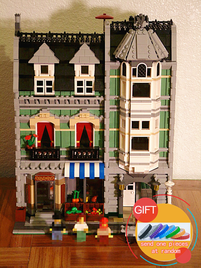 15008 2462Pcs City Street Green Grocer set Model Educational Building Kits Blocks Compatible with 10185 Toys lepin lepin 15008 new city street green grocer model building blocks bricks toy for child boy gift compatitive funny kit 10185 2462pcs