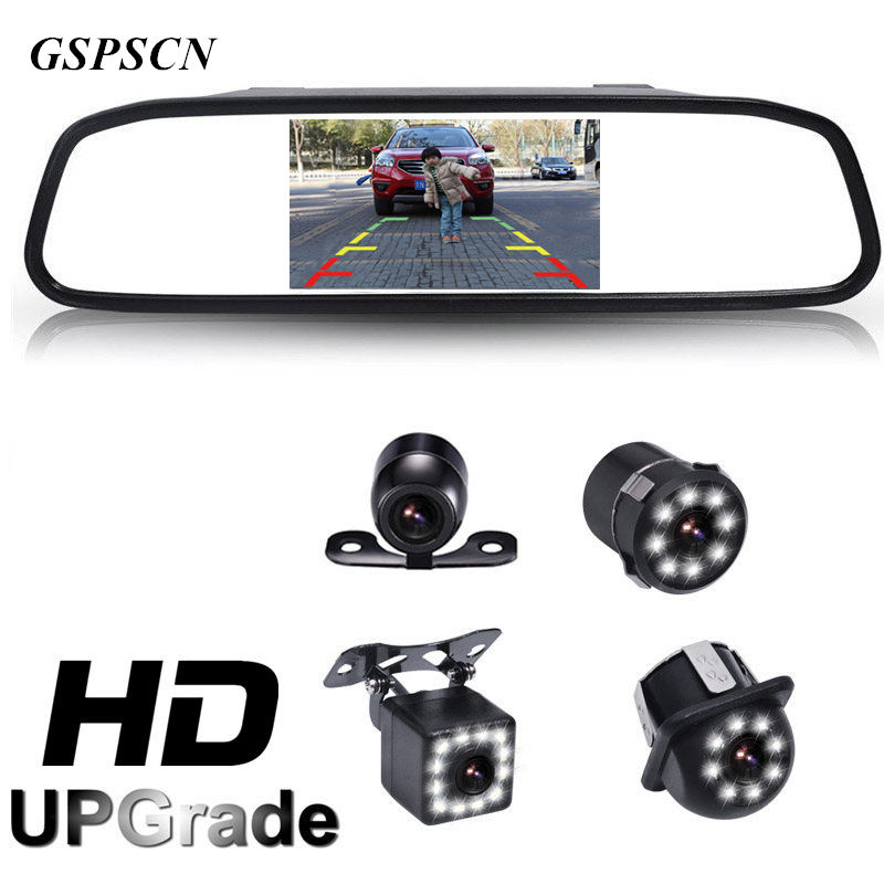 GSPSCN 2 in 1 Car 12 LED Night Vision Rear View Backup Camera With HD 4.3 Car HD Video Auto Parking Rearview Mirror Monitor цена