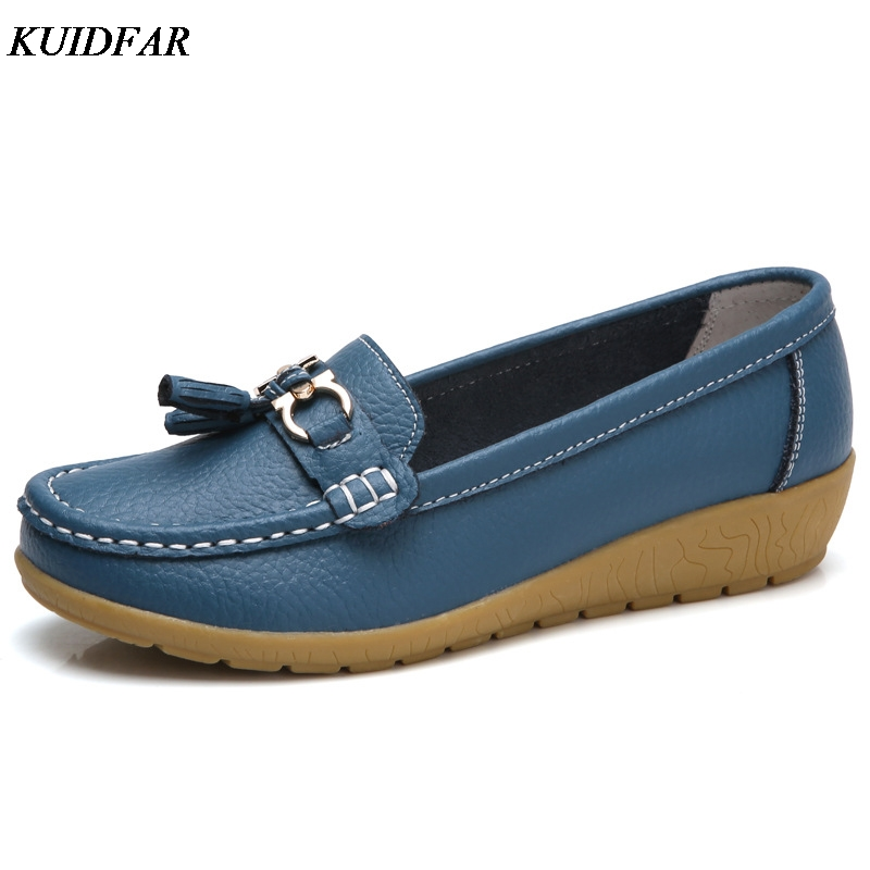 KUIDFAR 2018 Summer Genuine Leather Women Casual Shoes 2018 Fashion Breathable Slip-on Peas Massage Flat Shoes