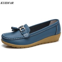 KUIDFAR 2018 Summer Genuine Leather Women Casual Shoes 2018 Fashion Breathable Slip-on Peas Massage Flat Shoes(China)