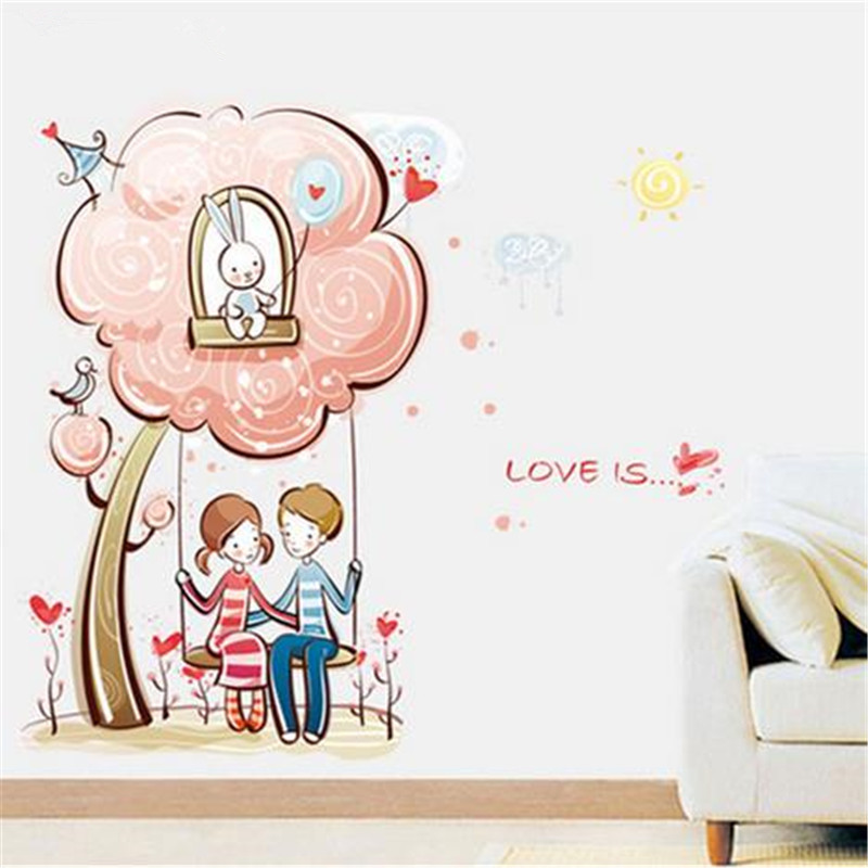 Nice Warm Romantic Couples Swing Under The Tree Removable Wall Stickers Kids Room Living Room Decoration Art Mural Wallpape Good Heat Preservation Home Decor Wall Stickers