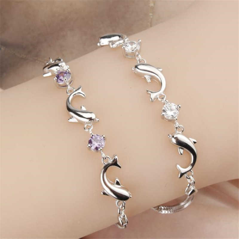 KOFSAC Fashion 925 Sterling Silver Chain Bracelets For Women Party Cute Dolphin Bracelet Bangle luxury Crystal CZ Jewelry Gifts
