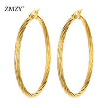 цена на ZMZY Earrings for Women Fashion Round Twisted Big Gold Drop Earrings Circle Stainless Steel Jewelry for Woman Gift