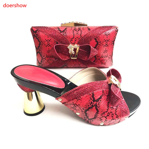 doershow Fashion Italian Shoes With Matching Bag Set High Quality African Shoes And Bag Set For Wedding Party Nigerian JS1-23 mother