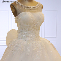 Vestido De Noiva Luxury Sleeveless Lace A Line Wedding Dress 2018 Robe De Mariee Beaded Crystal