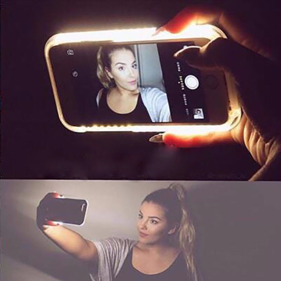SOKELY Phone Case For iPhone XR XSMAX Flash Selfie Light Up Glowing Luxury Phone Case For IphoneX iPhone 6 7 8 plus Cover in Fitted Cases from Cellphones Telecommunications