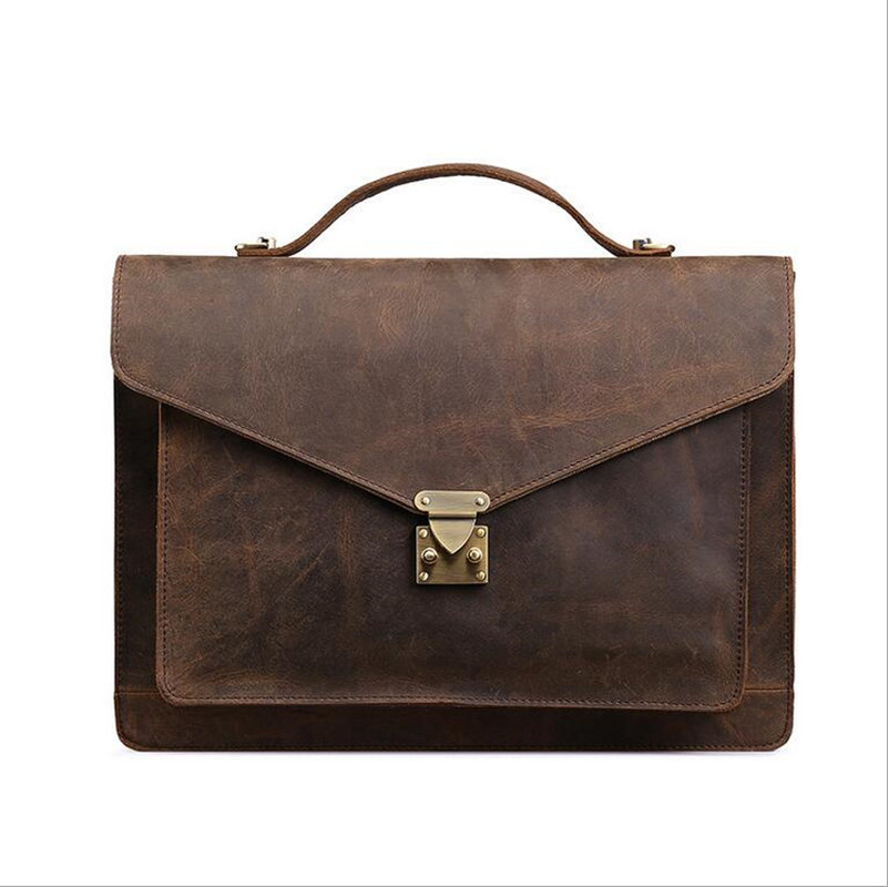 Vintage Men s briefcase Genuine Leather male Shoulder Casual Bags Business Handbag Cowhide Laptop Handbag messenger