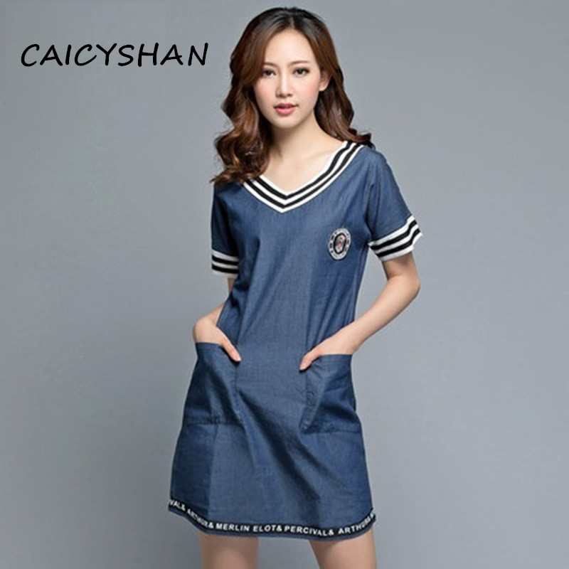 New Summer style Fashion brand Women Dresses Plus Size Casual Cotton Badge Jeans Dress For Women Large denim M-5XL Freeshipping