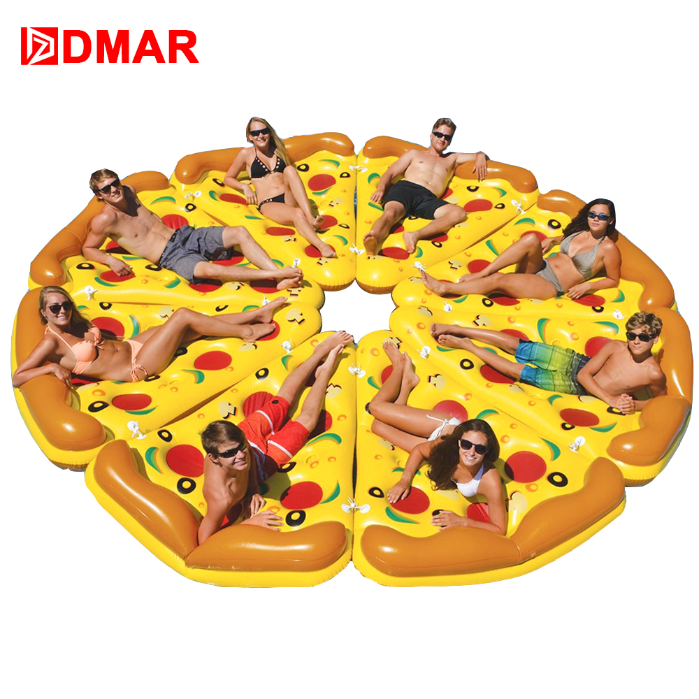 DMAR Inflatable Pizza Giant Pool Float Beach Mattress 180CM Swimming Ring Circle Lifebuoy Water Party Toys Kids Adults Flamingo giant pool float shells inflatable in water floating row pearl ball scallop aqua loungers floating air mattress donuts swim ring
