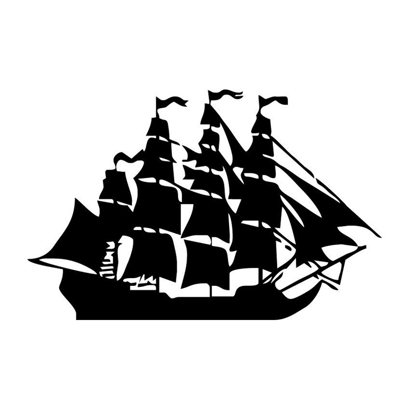 20.3*13CM Old Pirate Sailing Boat Sticker Funny Motorcycle Vinyl Decals Black/Silver C7-1797