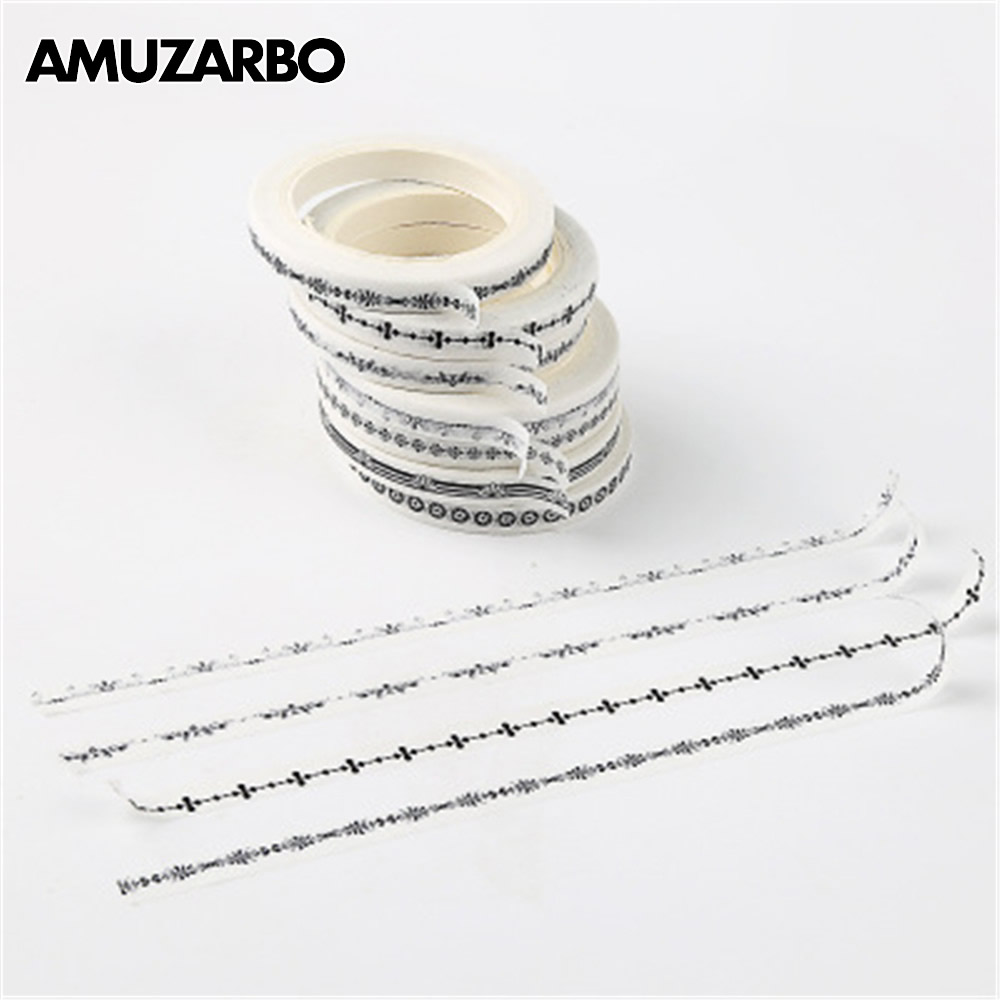 1 Pcs 5mm Black And White Very Fine Dividing Line Decoration Washi Tape DIY Planner Scrapbooking Diary Album Masking Tape