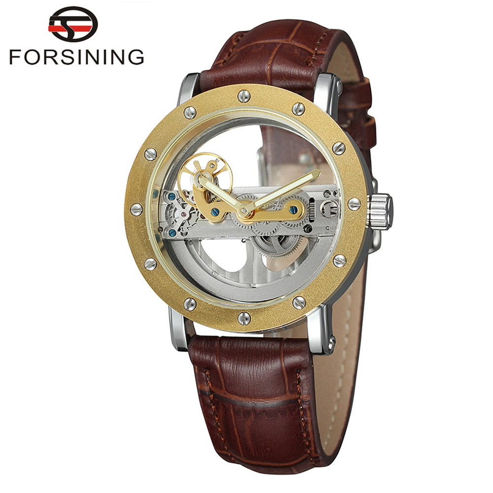 FORSINING Brand Mens Luxury Genuine Leather Band Skeleton Automatic Mechanical Watch Hollow Simple Wristwatch Relogio Releges winner women luxury brand skeleton genuine leather strap ladies watch automatic mechanical wristwatches gift box relogio releges