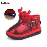 Yorkzaler Winter Children S Boots 2018 New Fashion Antlers Red Black Pink Kids Leather Shoes Waterproof