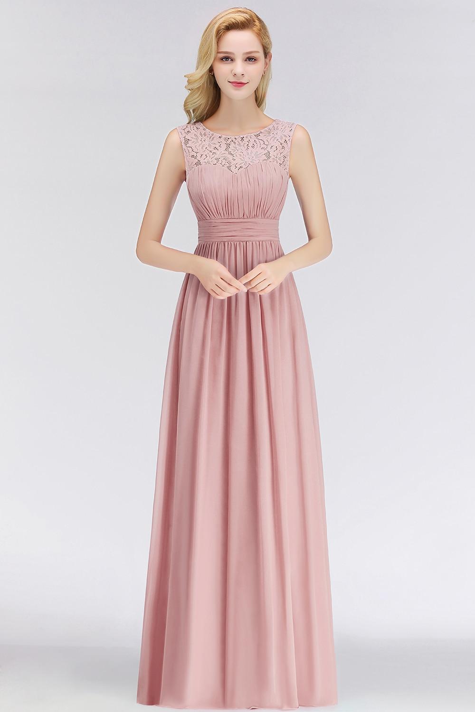 10 Elegant Dusty Rose Lace Bridesmaid Dresses Pleat O Neck