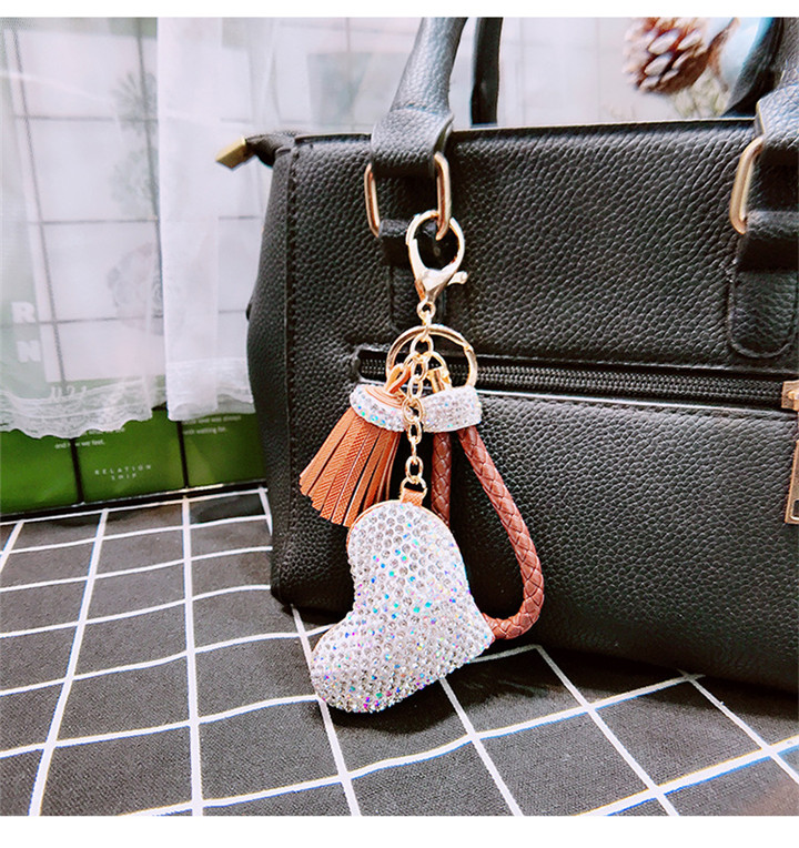 3 Creative Love Keychains Couple Bag Keyring Tassel Pendant Doll Leather Keychain For Women Fashion Jewelry Crystal Heart Keychains
