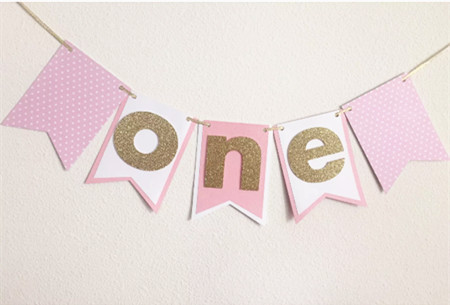 Handmade Pink Gold Banner 1st Birthday Bunting Hot Girl First