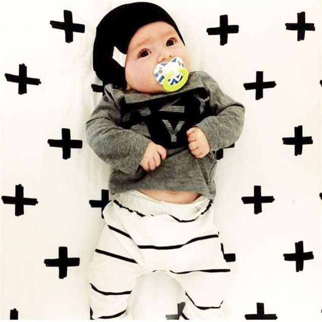 2018 Autumn Baby Boy Clothes Baby Clothing Set Fashion Cotton Long-sleeved Letter T-shirt+Pants Newborn Baby Girl Clothing Set 2