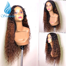 SHD Ombre Brown Lace Front Human Hair Wig with Baby Hair Indian Remy Hair Kinky Curly Wigs for Women 360 Glueless Lace Wigs afro kinky curly free part baby hair glueless lace front wig baby hair 12 26inch full lace wig cheap wigs for african women