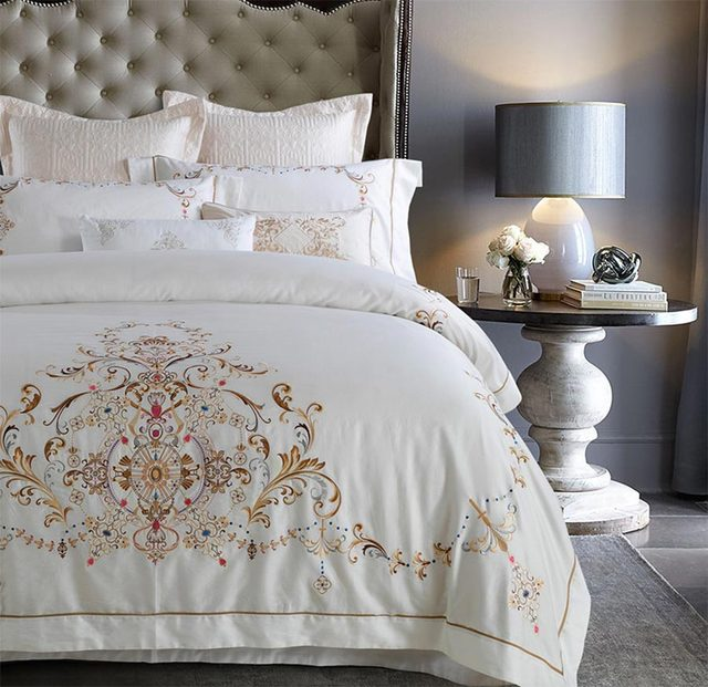 elegant embroidered geometric bedding setfull queen king cotton vintage palace home textiles bed linen - Vintage Bedding