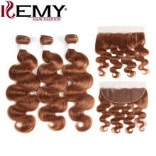 Brown Body Wave Human Hair Bundles With Frontal 13*4 KEMY HAIR Brazilian Non-Remy Hair Weaves Bundle 100% Human Hair Extension(China)