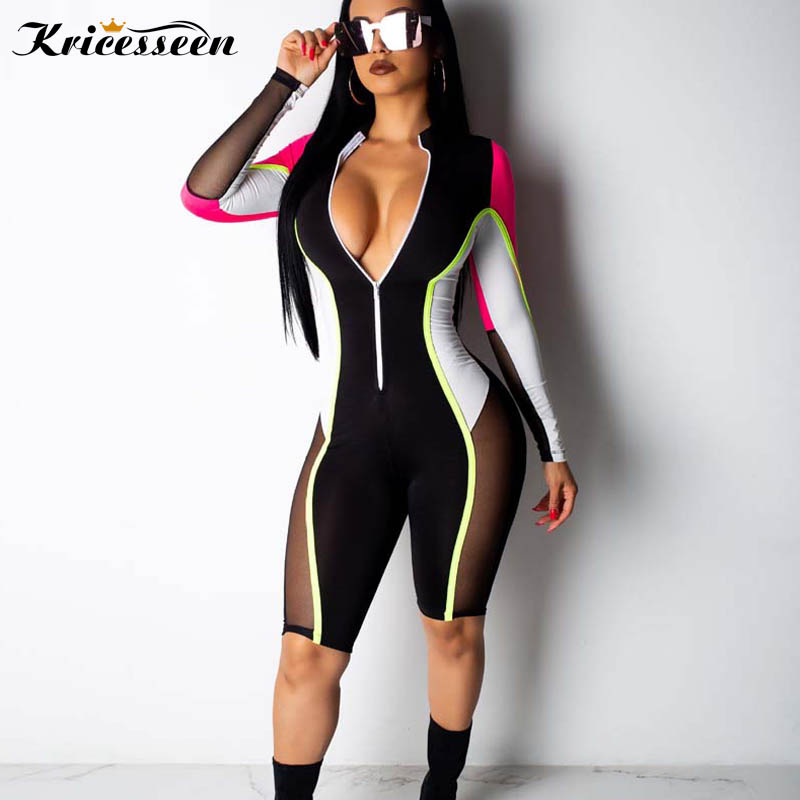 Kricesseen Sexy Mesh Splicing Matching Playsuit Womens Long Sleeve Front Zipper Shorts Jumpsuit Skinny Rompers Overalls XXXL