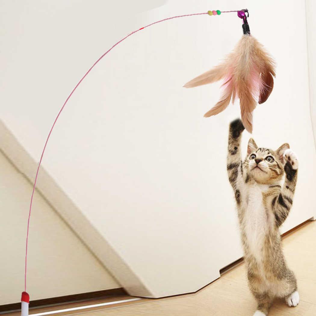 1pc Gatto Giocattolo Bastone Piuma Bacchetta Con Campana Gabbia Del Mouse Giocattoli di Plastica Artificiale Colorato Cat Teaser Giocattolo Forniture Per Animali Da Compagnia colore casuale