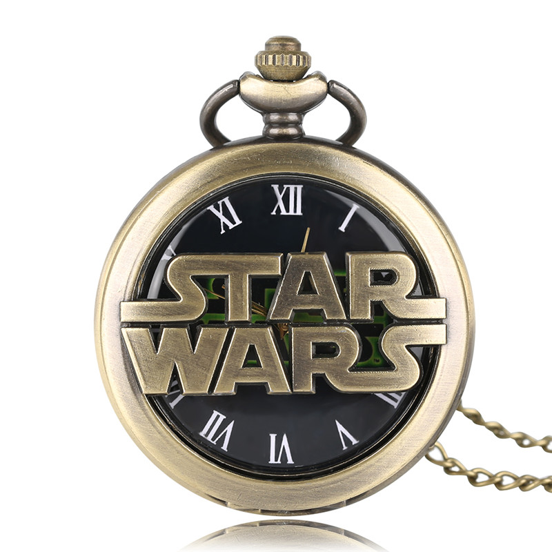 2017 New Arrival Bronze Hollow Design Full Hunter Star Wars Theme Quartz Pocket Watch Necklace Chain Roman Number Gift for Kids bronze quartz pocket watch old antique superman design high quality with necklace chain for gift item free shipping