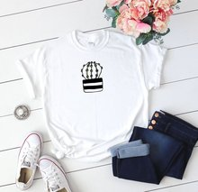 Womens Cactus T-Shirt Hand Drawn Cacti Shirt for Her Trending Graphic Vintage White Tops