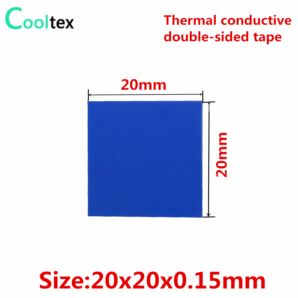 40pcs 20x20x0.15mm Thermally Conductive Adhesive Transfer Double Sided Tapes For Electronic Heatsink Radiator Led Cooling 20pcs lot aluminum heatsink 14 14 6mm electronic chip radiator cooler w thermal double sided adhesive tape for ic 3d printer