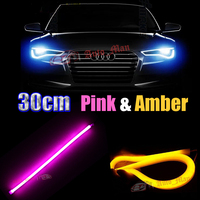 2x 30cm Pink Amber Switchback Tube Style Flexible LED Strips Lamp Indicator DRL Turn Signal Car