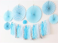 1 Set Blue Paper Flower Tassel Wedding Happy Birthday Party DIY Suppiles Photography Props Background Wall
