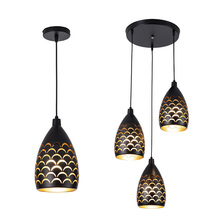 New Nordic LED Pendant Lights iron Hollow Out Hanging Pendant Lamp for Dining Room Loft  Decor Kitchen pendent Light Fixtures modern brief creative iron bulb shape led pendent lights hand made aluminum decor room lamp for dining room dy 1001a