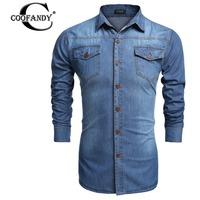 COOFANDY Denim Shirts Men Casual Shirt Long Sleeve Fashion Slim Camisa Jeans Masculina Mens Denim Shirts