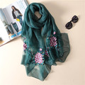2017 new luxury elegant high-grade hand Peony flower embroidery wool silk Female fashion solid color wild scarf shawl women
