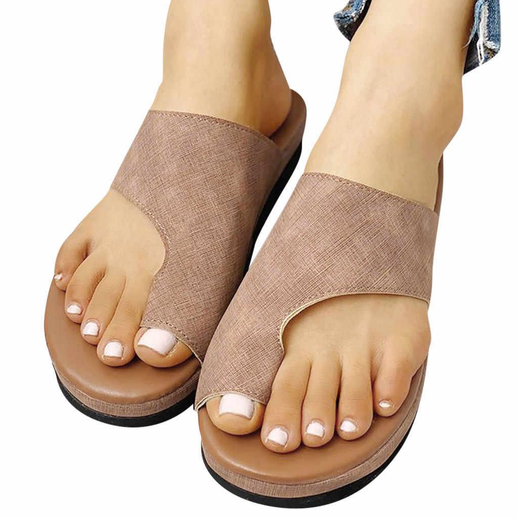 Bayan moda daireler takozlar burnu açık ayak bileği plaj ayakkabısı roma terlik sandalet yaz ayakkabı kadın ortopedik Bunion düzeltici